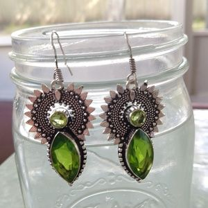 Green peridot stamped 925 earrings